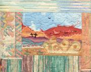 Machine Quilting Tapestries - Textiles Prints - New Mexican Lanscape Print by MtnWoman Silver