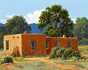 Hollyhocks Prints - New Mexico Adobe Print by Randy Follis