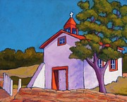 Blue Window Pastels - New Mexico Church by Candy Mayer
