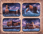 Faith Mixed Media Framed Prints - New Mexico Churches in Snow Framed Print by Ricardo Chavez-Mendez