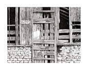 Drawings Of Barns Framed Prints - New Mexico Doors Framed Print by Jack Pumphrey
