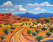 Sun Baker Posters - New Mexico Landscape with Sheep Poster by Patty Baker