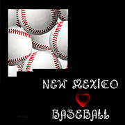 Abstract Map Posters - New Mexico Loves Baseball Poster by Andee Photography