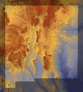 Abstract Map Posters - New Mexico Map Art Poster by Paul Hein