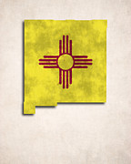 Flag Of Usa Digital Art Prints - New Mexico Map Art with Flag Design Print by World Art Prints And Designs