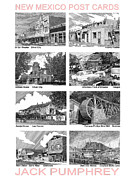 Note Cards Drawings Prints - New Mexico Post Cards one Print by Jack Pumphrey