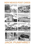 Pen And Ink Drawings Metal Prints - New Mexico Post Cards three Metal Print by Jack Pumphrey