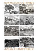 Pen And Ink Drawings Framed Prints - New Mexico Post Cards two Framed Print by Jack Pumphrey