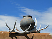 Elizabeth Rose - New Mexico Scene with Bleached Antlers and Pottery