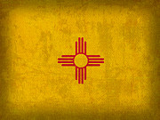 New Mexico Prints - New Mexico State Flag Art on Worn Canvas Print by Design Turnpike