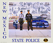 Good Mixed Media Framed Prints - New Mexico State Police Poster Framed Print by Randy Follis