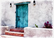 Las Cruces Print Posters - New Mexico Turquoise Door and Cactus  Poster by Barbara Chichester
