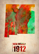 Modern Poster Metal Prints - New Mexico Watercolor Map Metal Print by Irina  March