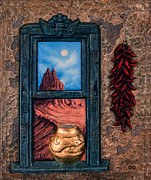 Stucco Mixed Media Posters - New Mexico Window Gold Poster by Ricardo Chavez-Mendez
