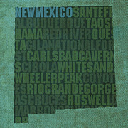 New Mixed Media Framed Prints - New Mexico Word Art State Map on Canvas Framed Print by Design Turnpike