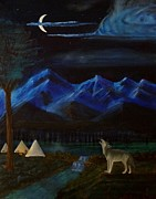 Wolf Howling Paintings - New Moon Howling by Stephen Schaps