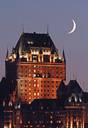 Spooky Scene Framed Prints - New Moon over Chateau Frontenac In Quebec City Framed Print by Juergen Roth