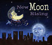 Tonight Prints - New Moon Rising - Jay Leno and Johnny Carson Print by J L Meadows