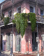 French Door Paintings - New Orleans Balcony by John Boles