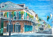 Balconies Framed Prints - New Orleans Bourbon Street Framed Print by Anthony Butera