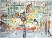 Contemporary Art Painting Framed Prints - New Orleans Carousel Framed Print by Anthony Butera