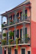 Wrought Iron Prints - New Orleans colorful homes Print by Christine Till