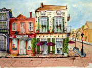 Old Street Paintings - New Orleans corner cafe by Judy Jennings