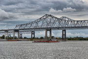 Water Scenes Photos - New Orleans Crescent City Connection Bridge by Christine Till