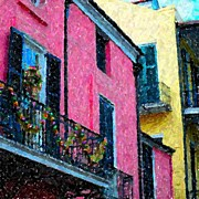 New Orleans Pastels Prints - New Orleans French Quarter Balcony Colors Louisiana Artwork Print by Olde Time  Mercantile