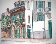 On Paper Paintings - New Orleans Gov. Nichols and Royal St by Anthony Butera