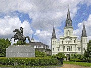 Jackson Pastels Prints - New Orleans Jackson Square Print by Olde Time  Mercantile