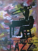 Trombone Paintings - New Orleans Jazz Musicians by Marian Hebert