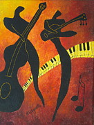 Bass Player Posters - New Orleans Jazz Poster by Pamela Allegretto