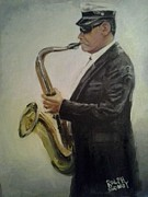 Vieux Carre Painting Originals - New Orleans Jazz Saxophone Player by Ralph Songy