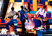 Harlem Mixed Media Prints - New Orleans Jazz Trio - a  Print by Everett Spruill
