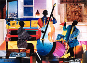 Harlem Mixed Media Prints - New Orleans Jazz Trio - b Print by Everett Spruill