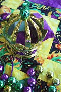 Mardi Gras Pastels Prints - New Orleans Mardi Gras Hat Beads Louisiana Artwork Print by Olde Time  Mercantile