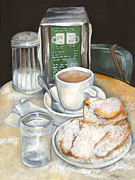 Coffee Paintings - New Orleans Night Treat by Elaine Hodges
