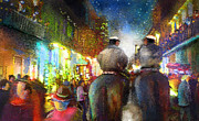 Townscape Mixed Media - New Orleans Nights 01 by Miki De Goodaboom