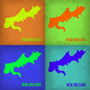 New Orleans Digital Art Posters - New Orleans Pop Art Map 1 Poster by Irina  March