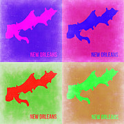 World Map Digital Art Metal Prints - New Orleans Pop Art Map 2 Metal Print by Irina  March