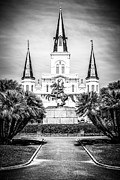 Historic Statue Framed Prints - New Orleans St. Louis Cathedral Black and White Picture Framed Print by Paul Velgos