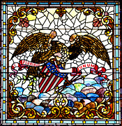 Eagles Photographs Posters - New Orleans Stained Glass 1881 Poster by Padre Art