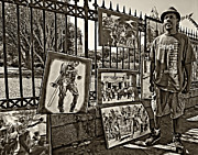 Louisiana Artist Prints - New Orleans Street Artist sepia Print by Steve Harrington