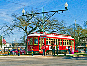 Live Oaks Digital Art Framed Prints - New Orleans Streetcar oil Framed Print by Steve Harrington