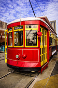 Cable Car Framed Prints - New Orleans Streetcar  Framed Print by Paul Velgos