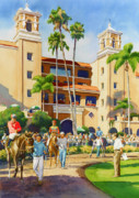 Diego Painting Posters - New Paddock at Del Mar Poster by Mary Helmreich