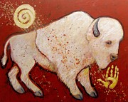 Buffalo Painting Prints - New Peace White Buffalo Print by Carol Suzanne Niebuhr