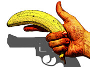 Banana Art Prints - NEW Photographic Art Print For Sale   Hand Gun Against a White Background Print by Toula Mavridou-Messer
