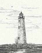 Old And New Drawings Prints - New Point Comfort Lighthouse II Print by Stephany Elsworth